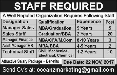 Oceanz Marketing Pakistan Manager and Technical Staff Jobs 2017 How to Apply Online