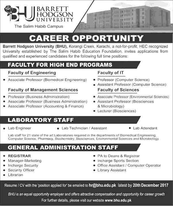 Barrett Hodgson University BHU Karachi Jobs December 2017 Professors Apply Online Eligibility Criteria
