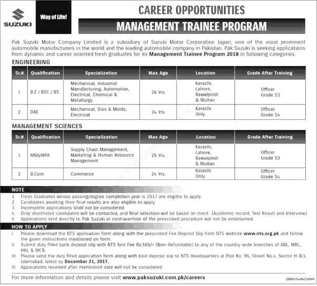 Pak Suzuki Management Trainee Program December 2017 NTS Application Form Merit List