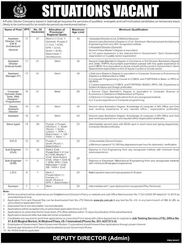 Federal Government Organization Islamabad Jobs December 2017 Sub Engineer JTS Application Form Eligibility Merit List