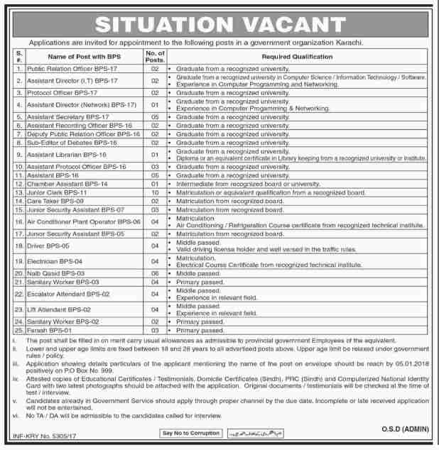 PO Box 999 Karachi Government Organization Jobs 2017-18 Junior Clerk Naib Qasid Application Form Required Experience