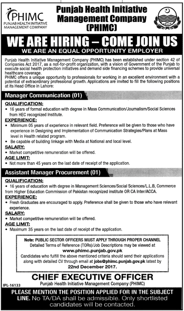 Punjab Health Initiative Management Company PHIMC Jobs 2017 Eligibility Criteria Last date to Apply