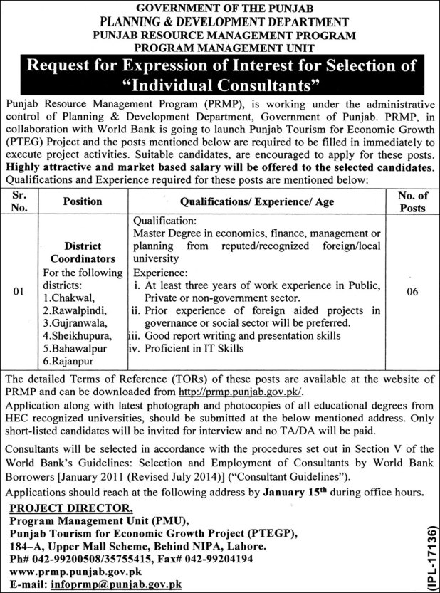 Punjab Resource Management Program PRMP Jobs 2017-18 District Coordinator Required Qualification and Experience Last Date
