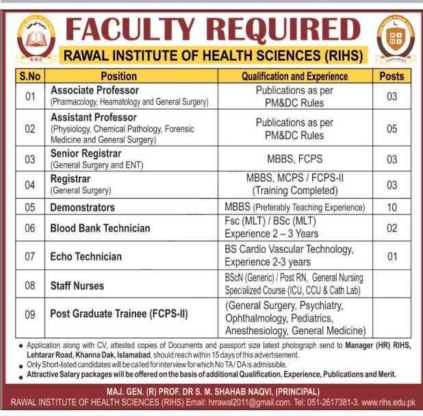 Rawal Institute of Health Sciences RIHS Islamabad Jobs 2017-18 Professors Application Form Required Qualification