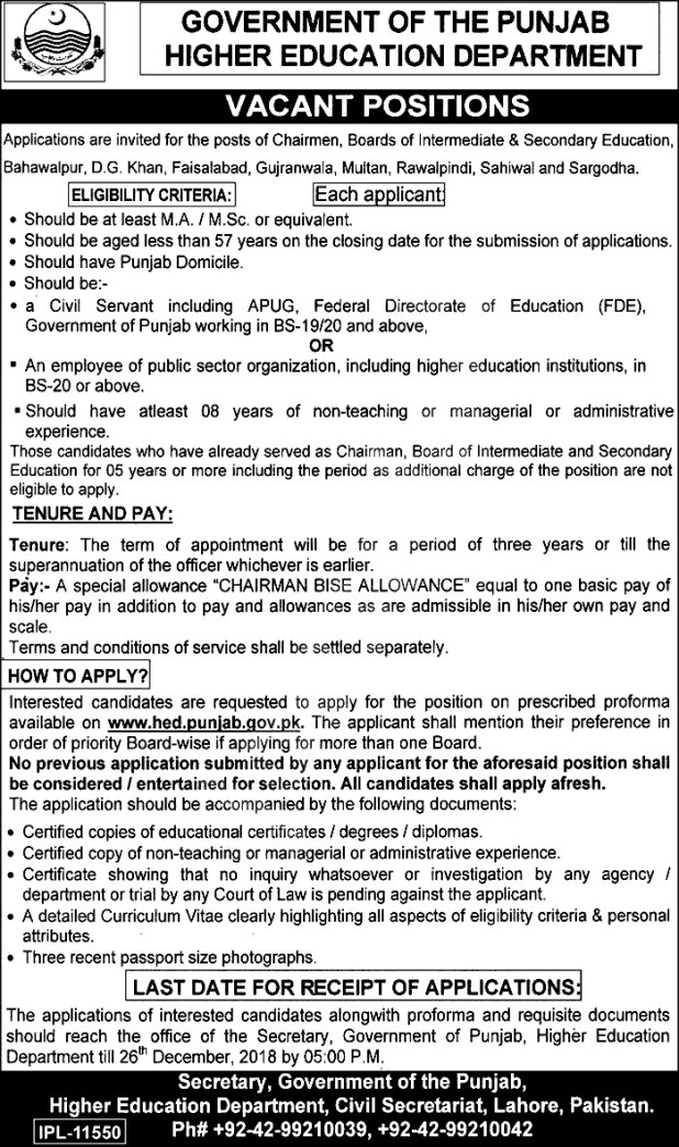 Punjab Higher Education Department Jobs 2018 Application Form Last Date