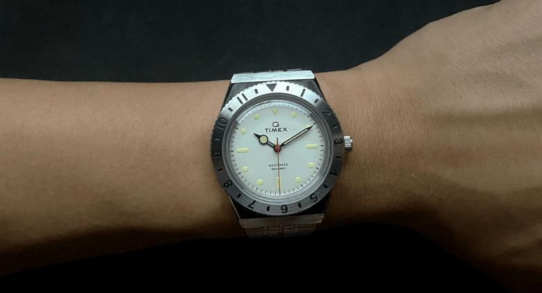 Q Timex Hodinkee Bezel on the wrist