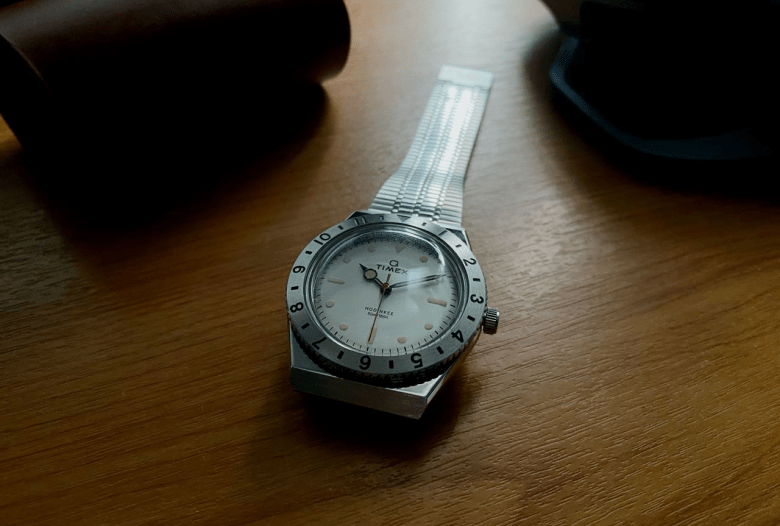 Q Timex Hodinkee laying flat on a table top