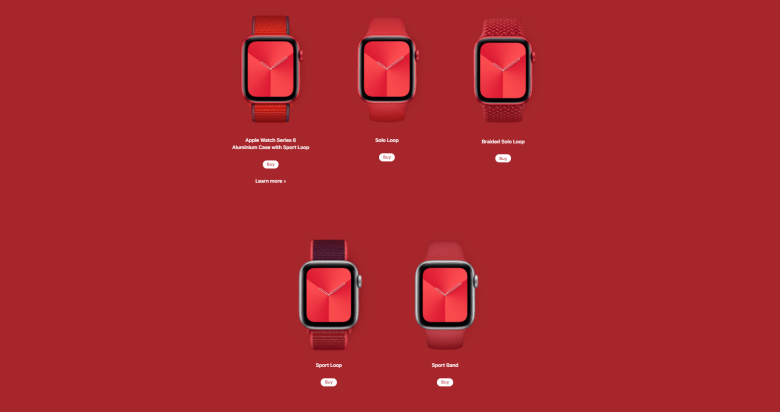 Apple Product RED Line up for watches