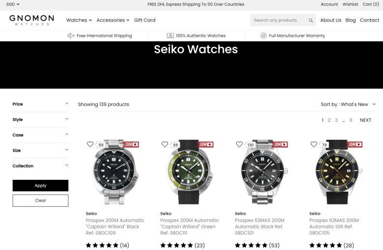 Gnomon Watches Web Site Seiko Catalogue JDM