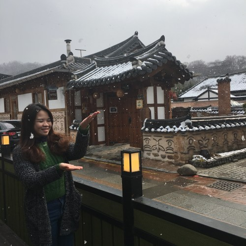 snow in jeonju hanok village