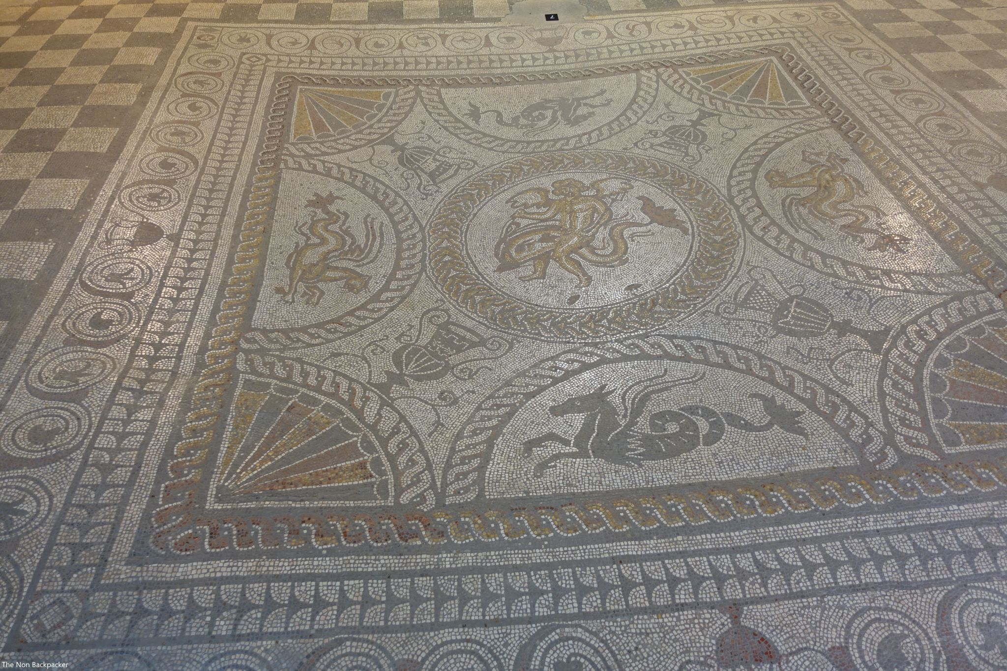 Huge mosaic with images of the sea