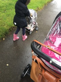 We went pram pushing- and I had to make the Wildcat a raincover for her pram- quick thinking from me to prevent a meltdown.