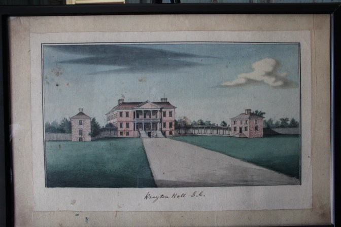 A painting of Drayton Hall before the flanker houses were torn down.