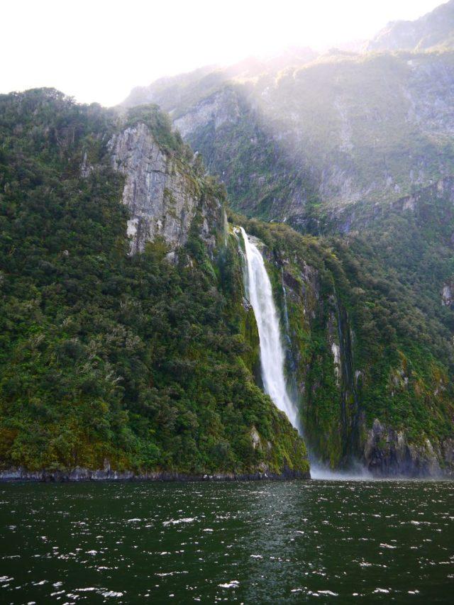 milford sound cruise waterfall