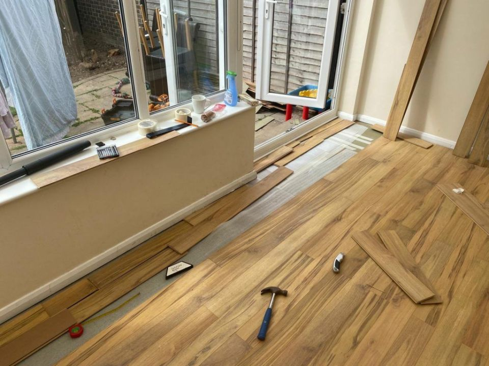 laminate flooring being fitted