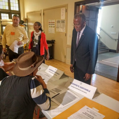 State Senate candidate Robert Jackson prepares to vote at the Fort Washington Collegiate Church on 181st St on Tuesday morning. Credit: Summer Meza/The North Polls