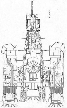 """Original Nostromo plan drawing from The Nostromo Files, c. 1990s, with """"hairy legs"""" secondary thrusters."""