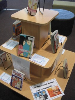 Manga display managed by a student