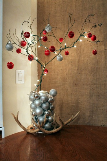 When our live tree died too soon in 2012 I decorated this branch for our table and left it out for most of January because I just can't let go of the Christmas spirit ;)