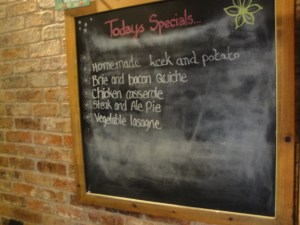 Grannies Tearoom Specials board