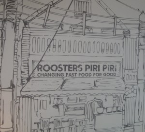 Roosters Piri Piri Chicken sign