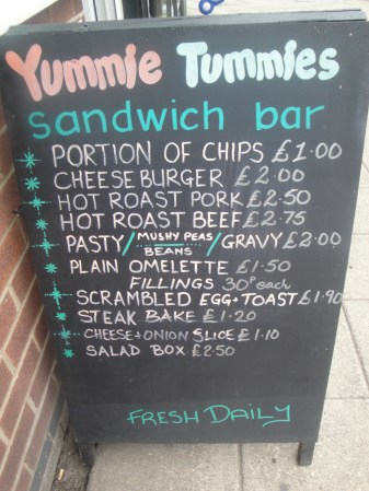 Yummie Tummies Sandwich Board