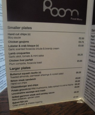 The Room Menu at the White Hart