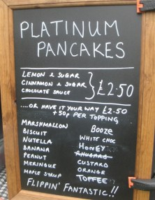 Platinum Pancakes Menu
