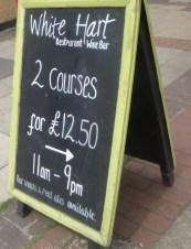 White Hart Chalk Board offer