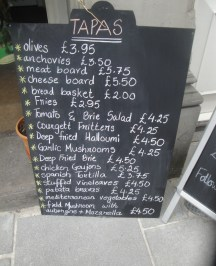 Tapas Chalkboard options