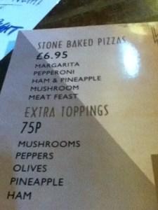 Basic Pizza Menu at Castle Barge