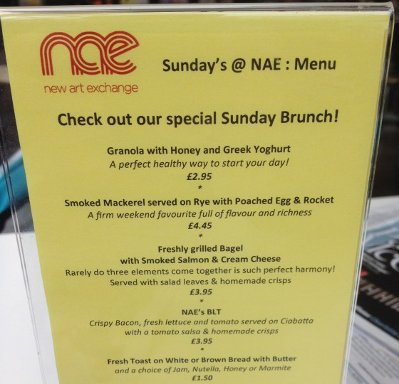 NAE Sunday Brunch Menu