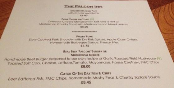The Falcon Inn Menu