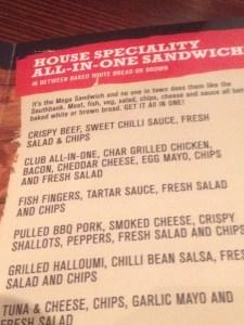 South Bank Sandwich Menu