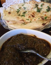 Sag Aloo and Garlic Naan at Cumin