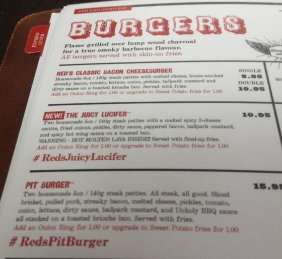 Burger Menu at RedS True BBQ