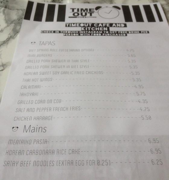 TimeOut Cafe Menu