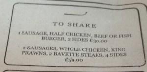 Sharing Platter Menu at Oaks in Nottingham