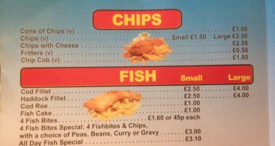 Fish and Chips Menu at the In Plaice