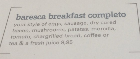 Baresca Breakfast Complete menu