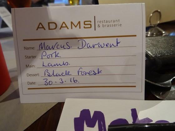 My Menu Choices at Adam's