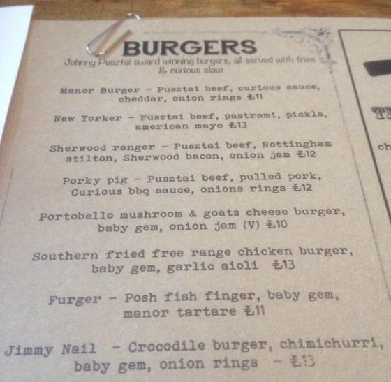 Burger Menu at the Curious Manor