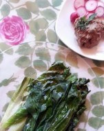 "grilled escarole with chicken liver pate' and radish ""chips"""
