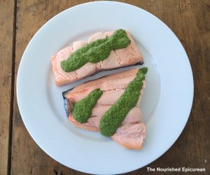 The Nourished Epicurean_Poached salmon with chimichurri