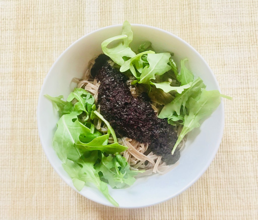 Red shiso pesto + buckwheat noodles + arugula