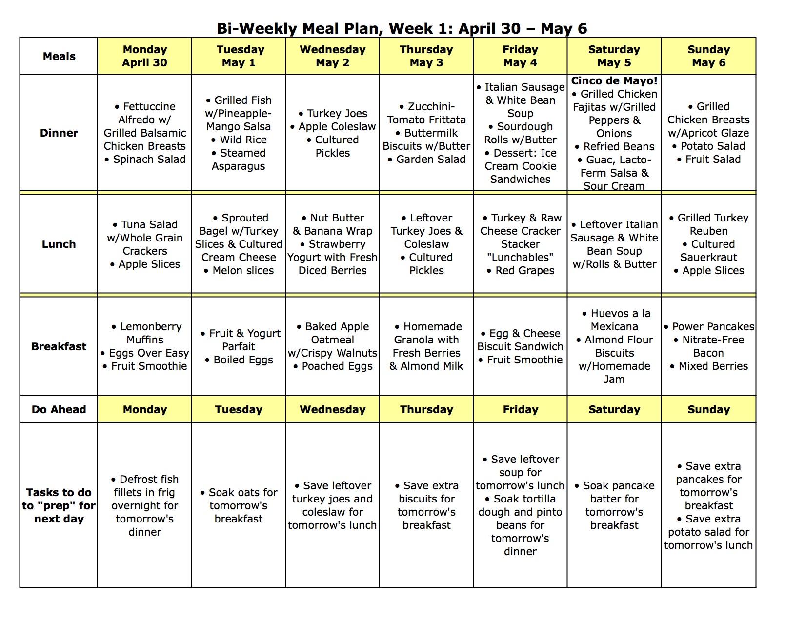 Meal Plan Monday April 30 May 6
