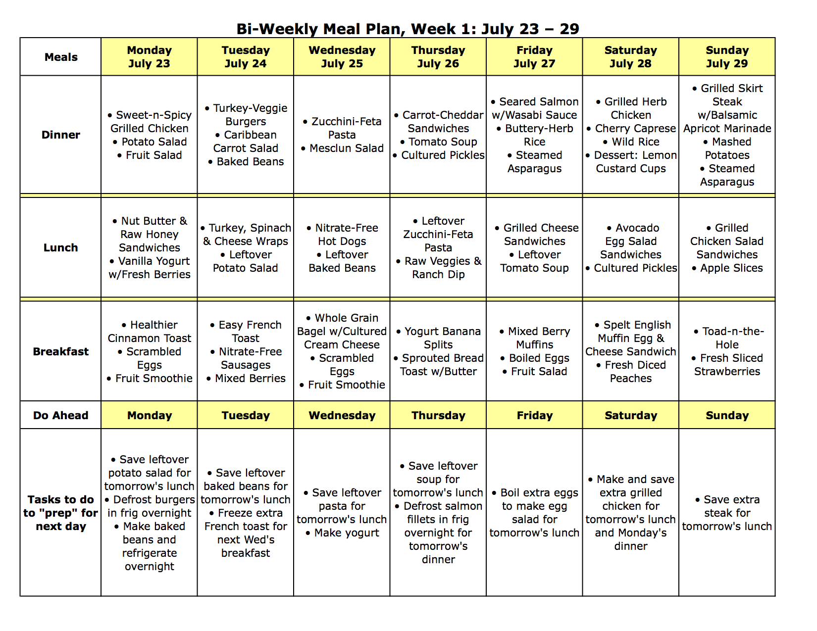 Meal Plan Monday No Oven Required July 23 August 5