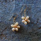 DIY handmade earrings fresh water pearl flowers