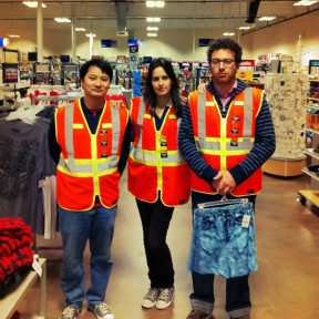 Me, Sarah, and Josh wearing the official Living Newspaper Uniform