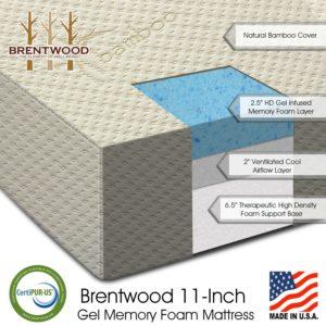 Bwood 11 Gel Infused Hd Memory Foam Mattress